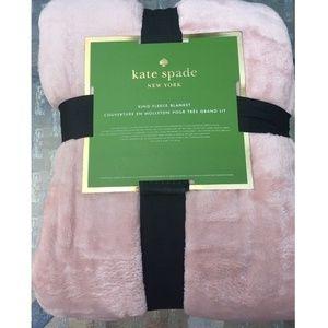 Kate Spade Blush Pastel Pink King Sz Plush Blanket